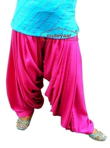 Magenta Super Heavy Maharani Patiala Salwar of Crepe Fabric 3