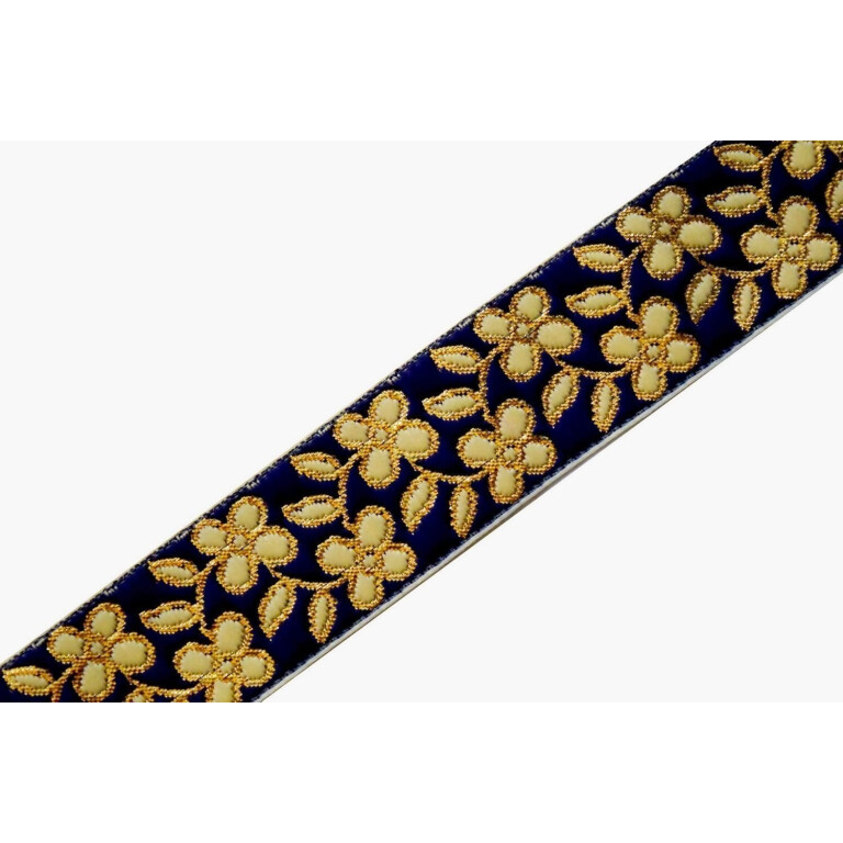 35 mm (1.25 inch) Wide Navy Blue Embroidered Lace 9 meters Long Piece LC182