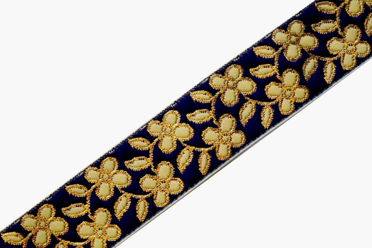 35 mm (1.25 inch) Wide Navy Blue Embroidered Lace 9 meters Long Piece LC182 1