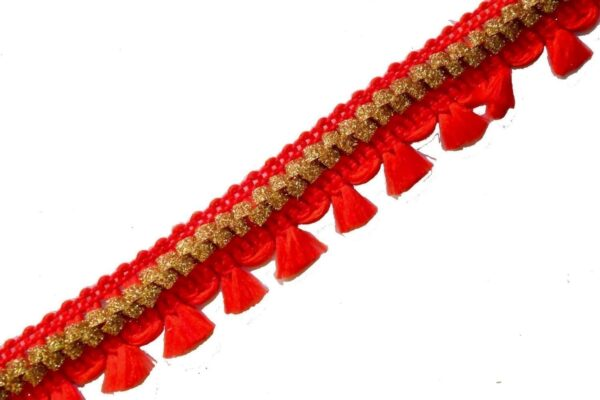 22 mm Wide Red Golden Tassles Lace 9 meters Long Piece LC185