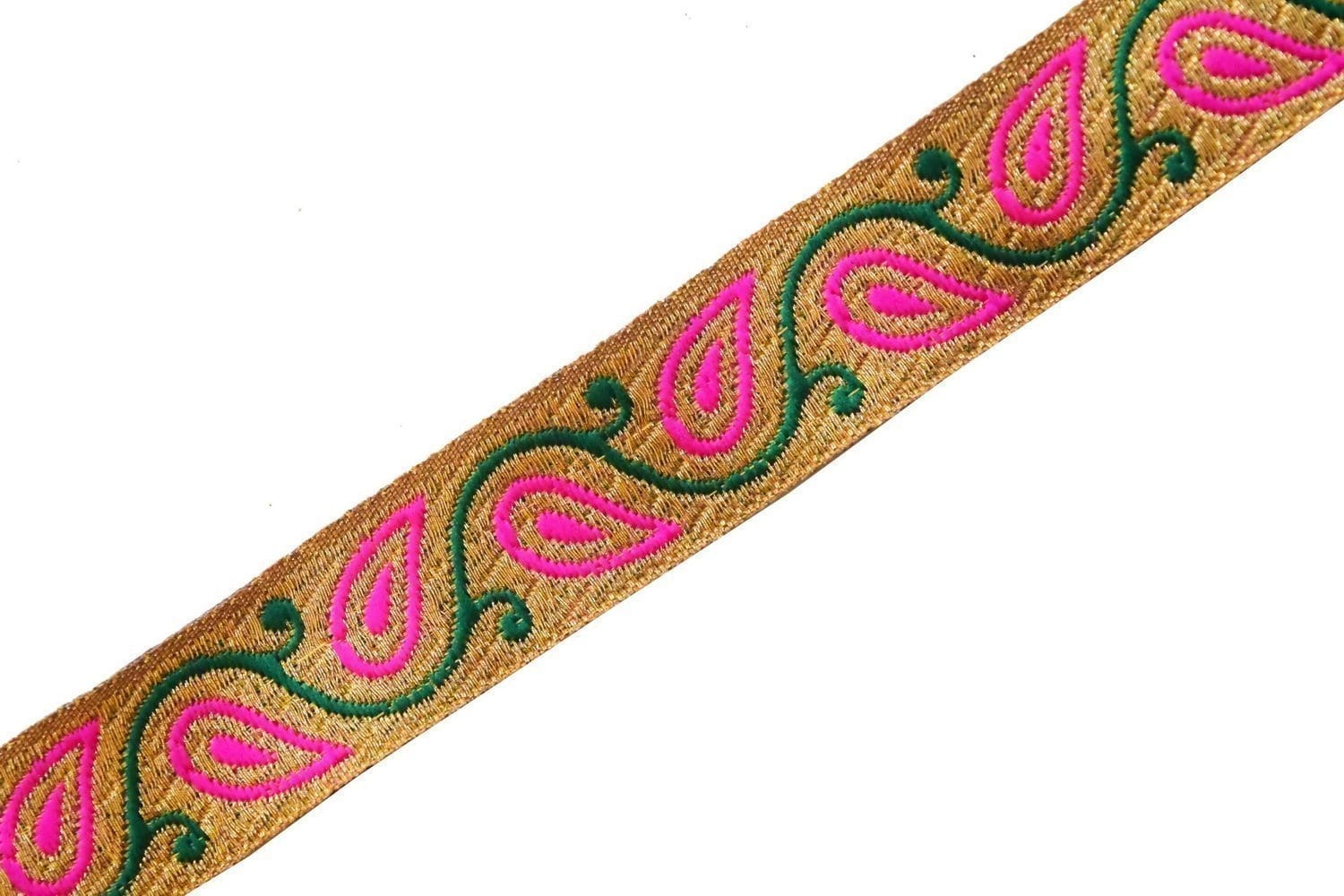 22 mm Wide Golden Embroidered Lace 9 meters Long Piece LC195 1