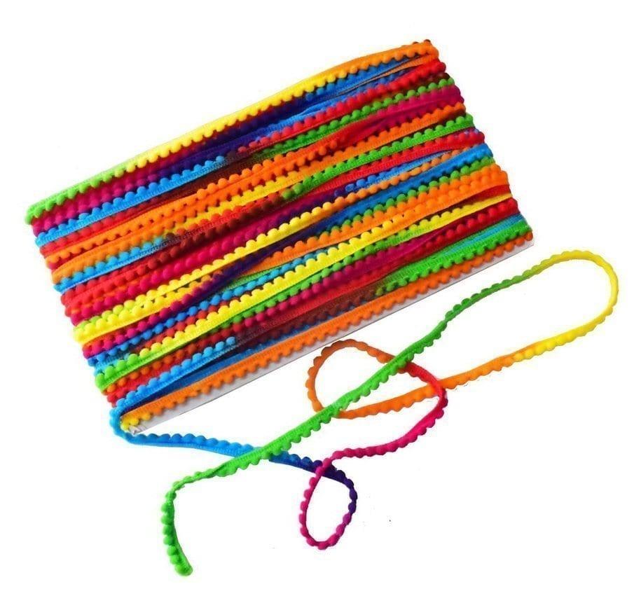Small Multicolor Laddoo Lace Pom Pom Balls kinari Roll of 9 Meters LC196 1