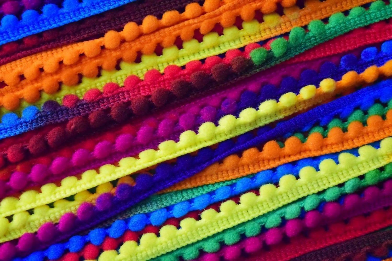 Small Multicolor Laddoo Lace Pom Pom Balls kinari Roll of 9 Meters LC196 3