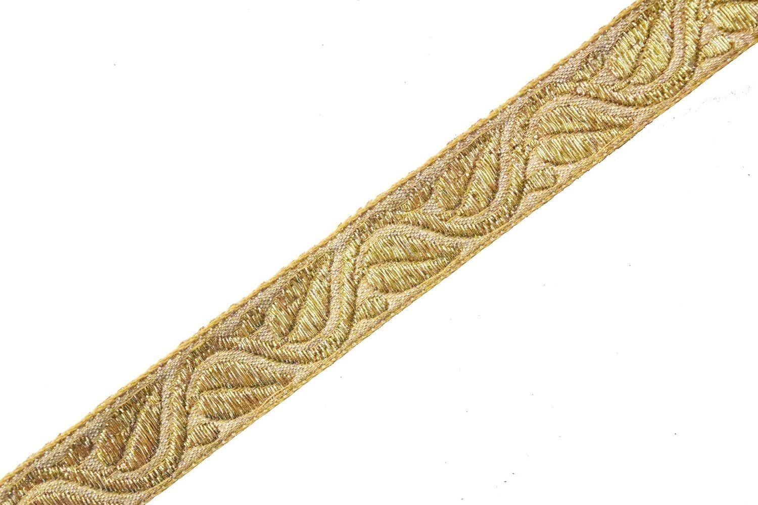 1 inch Wide Golden Gota Embroidered Lace 9 meters Long Piece LC198 1