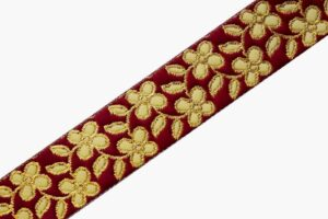 35 mm (1.25 inch) Wide Maroon Embroidered Lace 9 meters Long Piece LC204