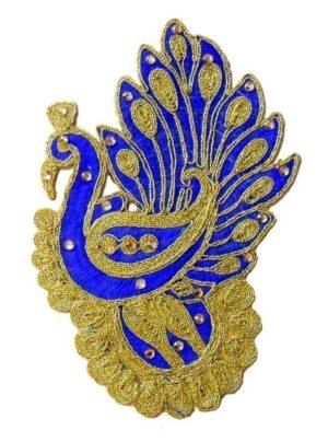 6″ Long Blue Peacock Motif for Lehenga Kundan Work Embroidered MT0032