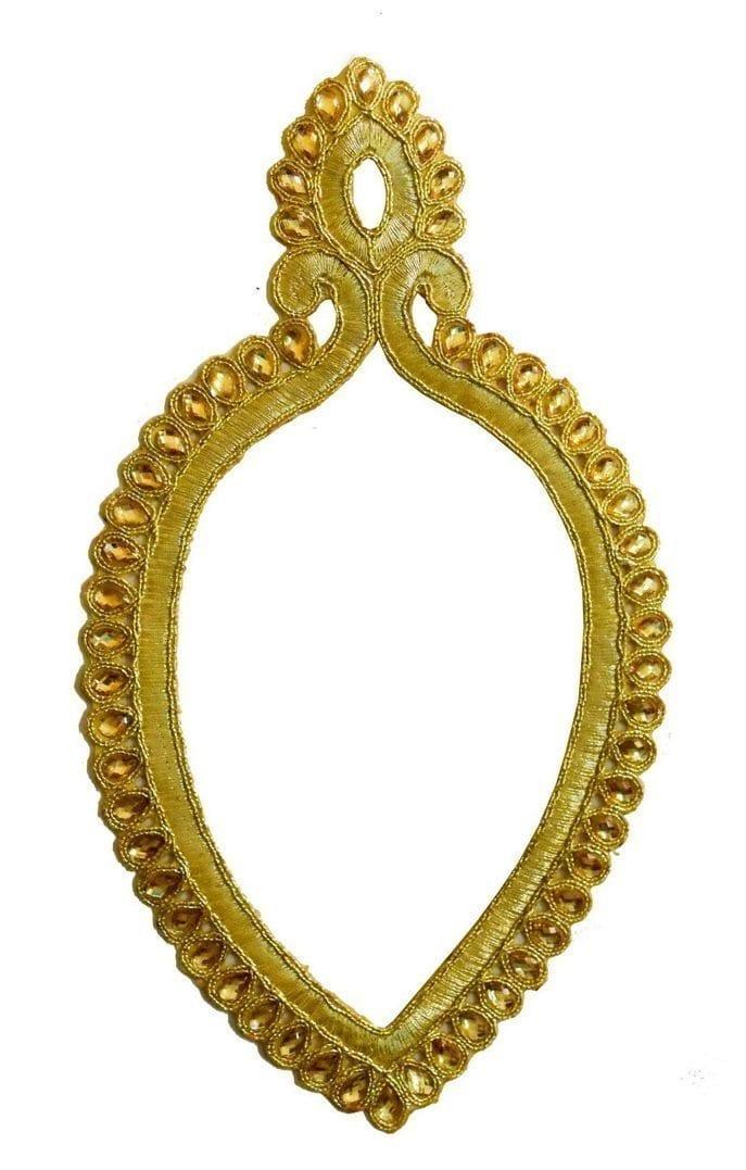 "9"" Long Golden Motif for Lehenga Kundan Work Embroidered MT0034 1"