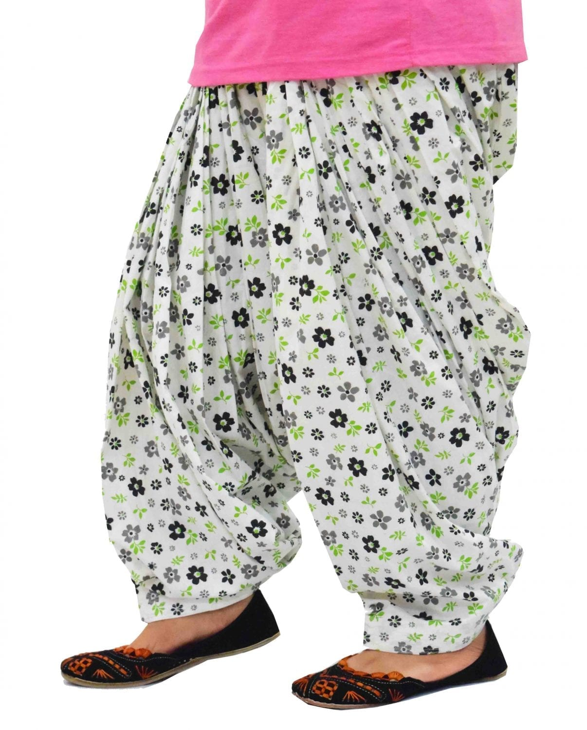 White Printed Full Patiala Salwar Limited Edition 100% Pure Cotton PPS266 1