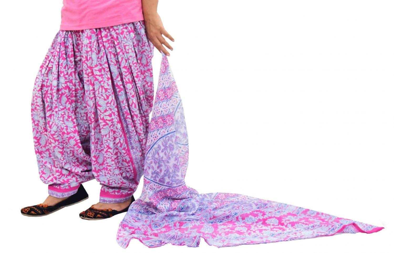 Printed Full Patiala Salwar Dupatta Set Limited Edition 100% Pure Cotton PSD258 1