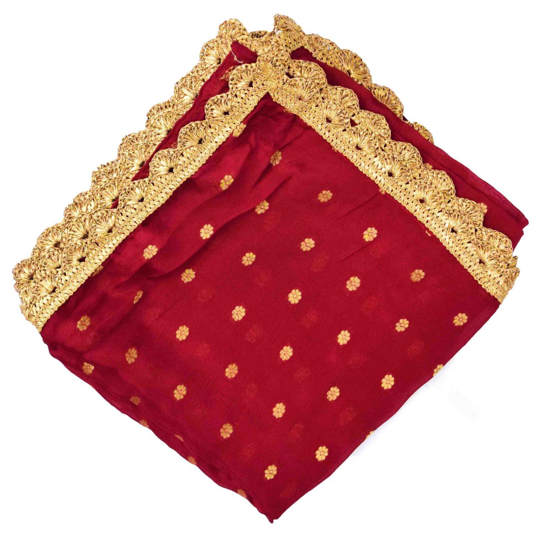 Golden Polka Print Dupatta Semi Chinon with Pakhi Gota 2