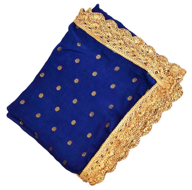 Golden Polka Print Dupatta Semi Chinon with Pakhi Gota 4