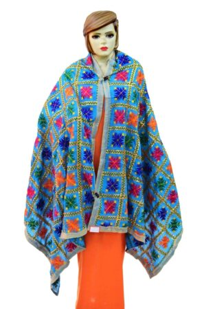 Firozi PHULKARI Dupatta with Gota Work Party Wear M/C Embroidered D0897