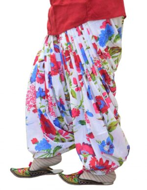 White Printed Full Patiala Salwar Limited Edition 100% Pure Cotton PPS269