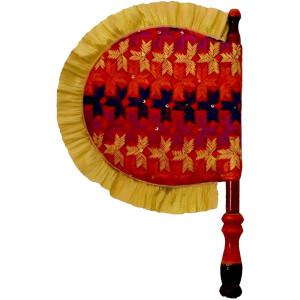 Punjabi Hand Embr Phulkari Pakhi Hand Fan size 16 inch length T0240