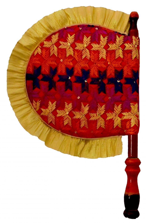 Punjabi Hand Embr Phulkari Pakhi Hand Fan size 16 inch length T0240 1