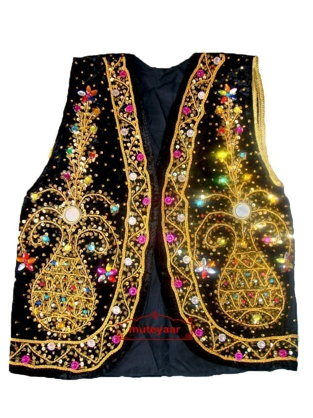Embroidered BLACK VEST for  Bhangra dance costume  / outfit 1