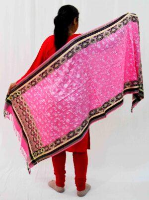 Pink Kashmiri Stole Allover Embroidery Work Semi Pashmina Cashmilon wrap C0664