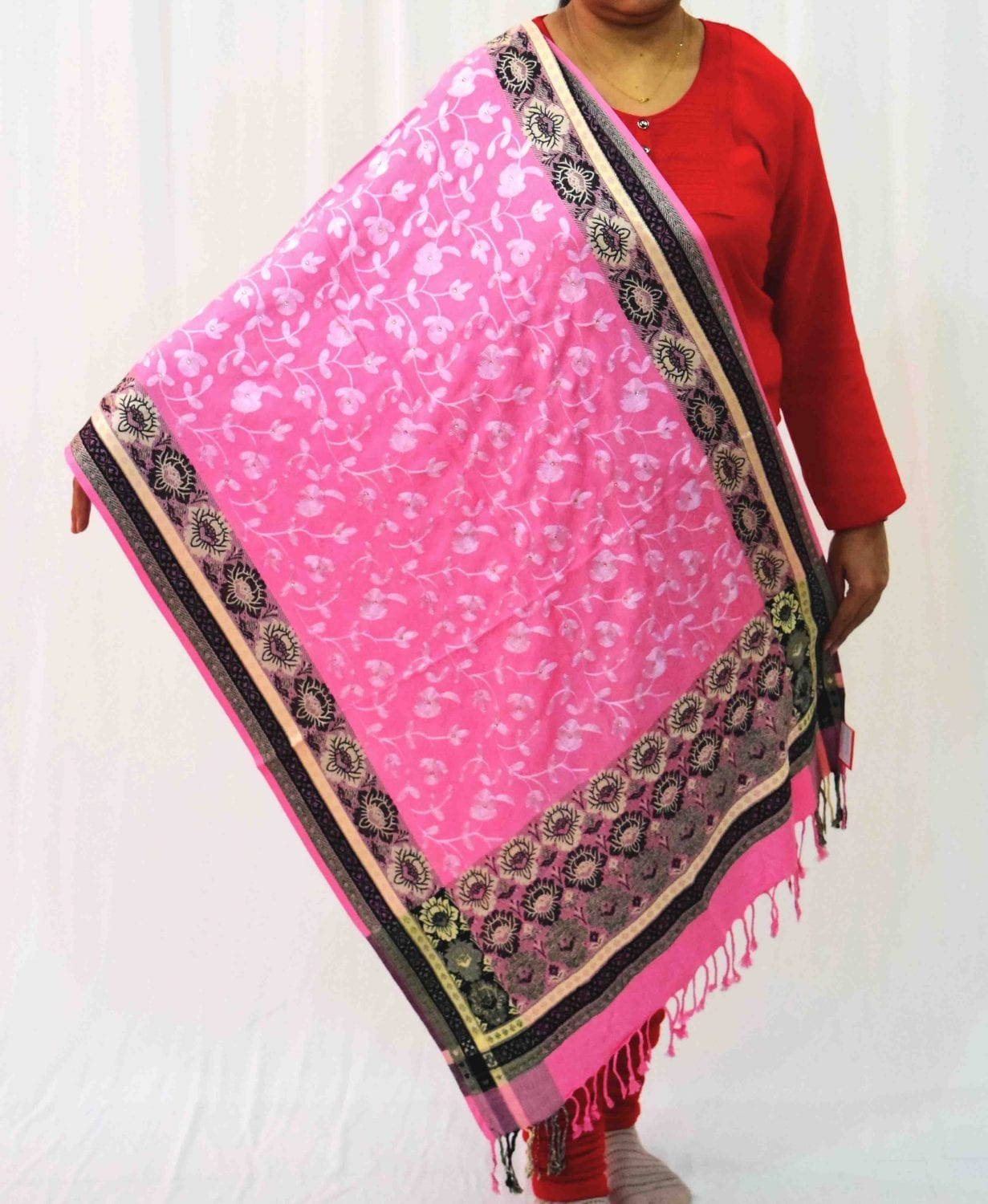 Pink Kashmiri Stole Allover Embroidery Work Semi Pashmina Cashmilon wrap C0664 2