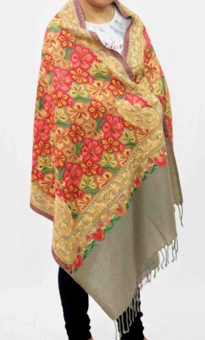 Heavy Embroidery Work Kashmiri Stole pure wool Pashmina wrap C0678