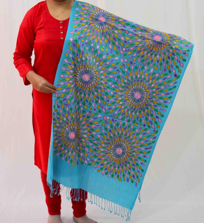 Firozi Kashmiri Stole Multicolour Embroidery Work pure wool Pashmina wrap C0683 1
