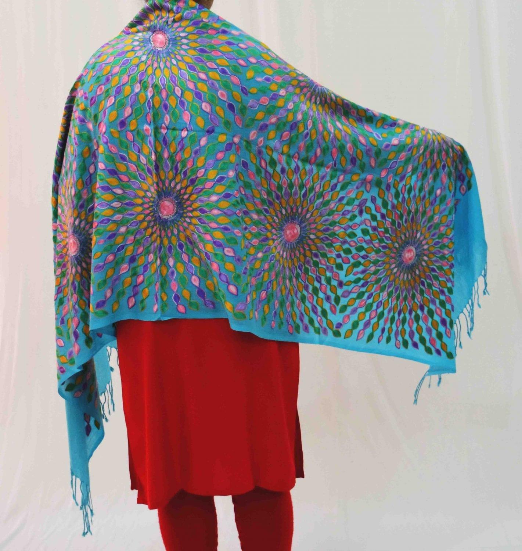 Firozi Kashmiri Stole Multicolour Embroidery Work pure wool Pashmina wrap C0683 2