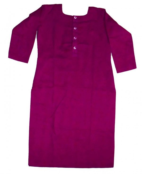 Custom Stitched Plain Cotton Long Kurti Top Tunic Shirt