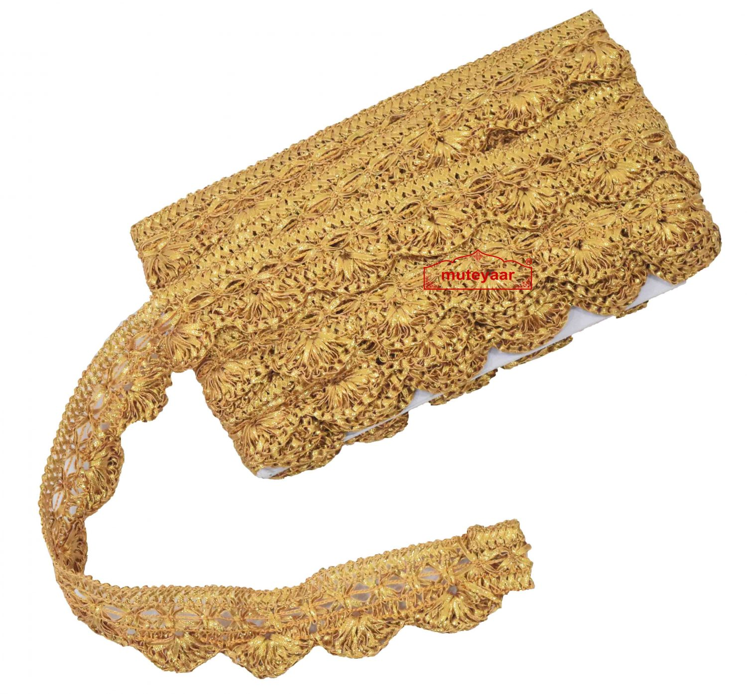 Golden pakhi Gota Lace LC027 width 1.5 inch Roll of 9 mtrs. 1