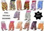 Wholesale Printed Patiala Salwars Lot of 12 PURE COTTON free-size FULL Patiala Bottoms