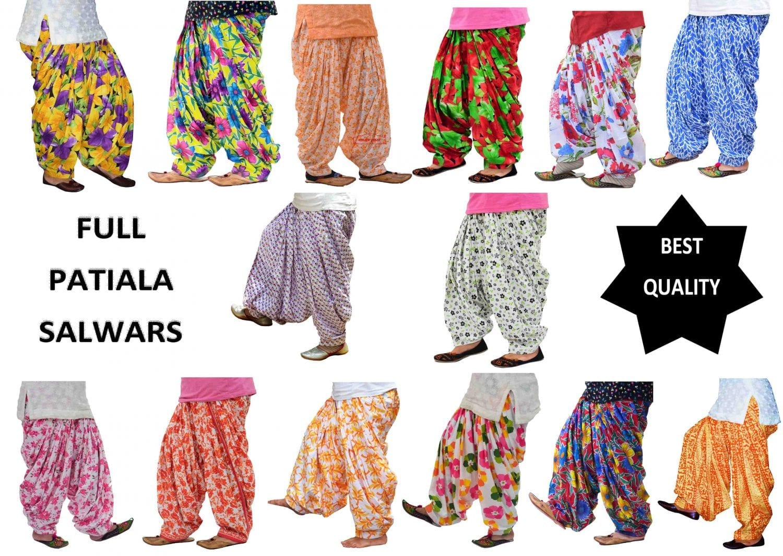 Wholesale Printed Patiala Salwars Lot of 12 PURE COTTON free-size FULL Patiala Bottoms 1