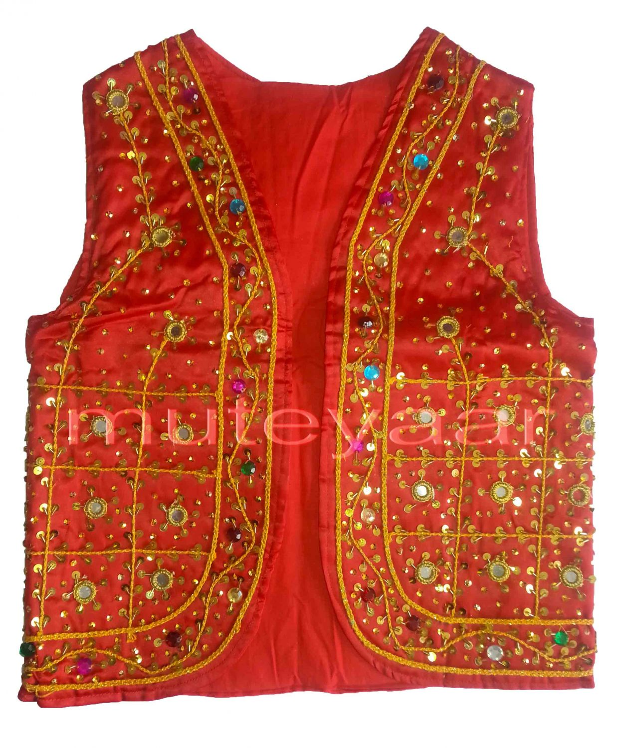 Embroidered RED VEST for  Bhangra dance costume  / outfit 1