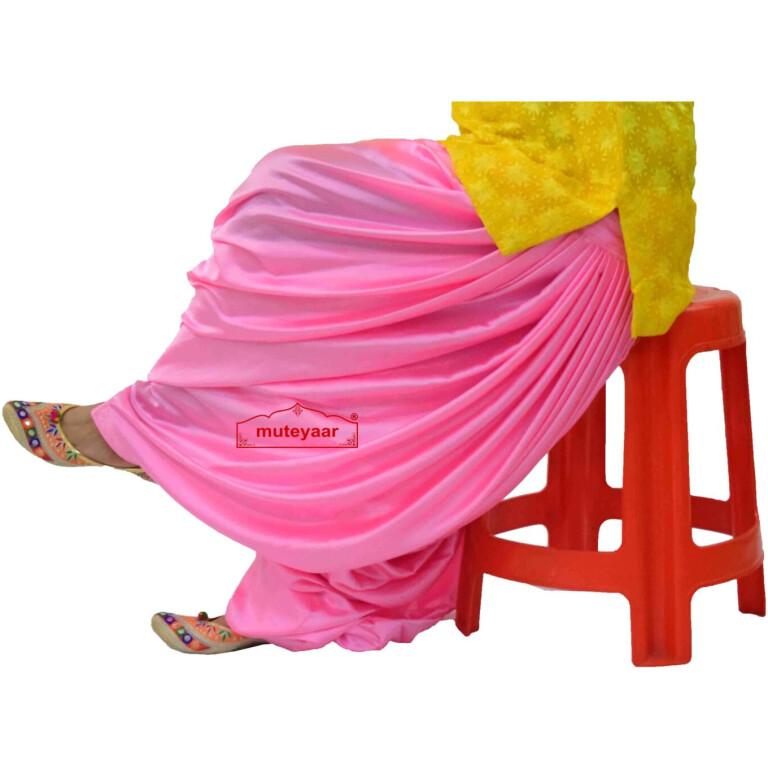 Pink Satin Maharani Patiala Salwar