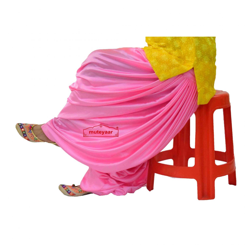 Pink Satin Maharani Patiala Salwar - Custom Stitched 1