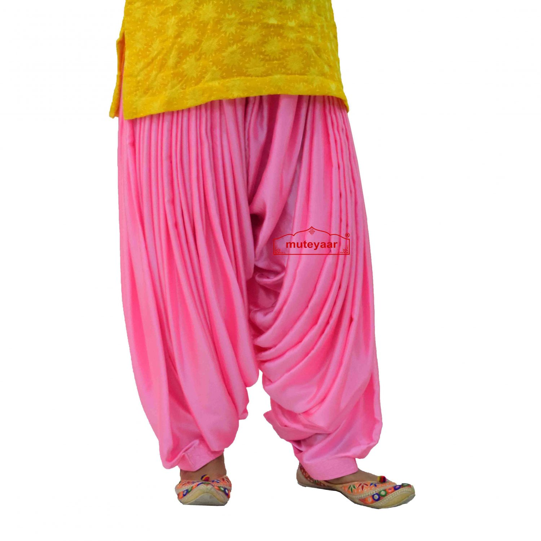 Pink Satin Maharani Patiala Salwar - Custom Stitched 2