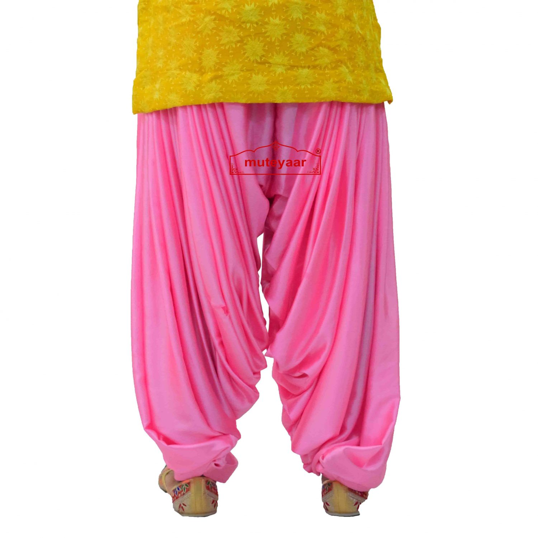 Pink Satin Maharani Patiala Salwar - Custom Stitched 3