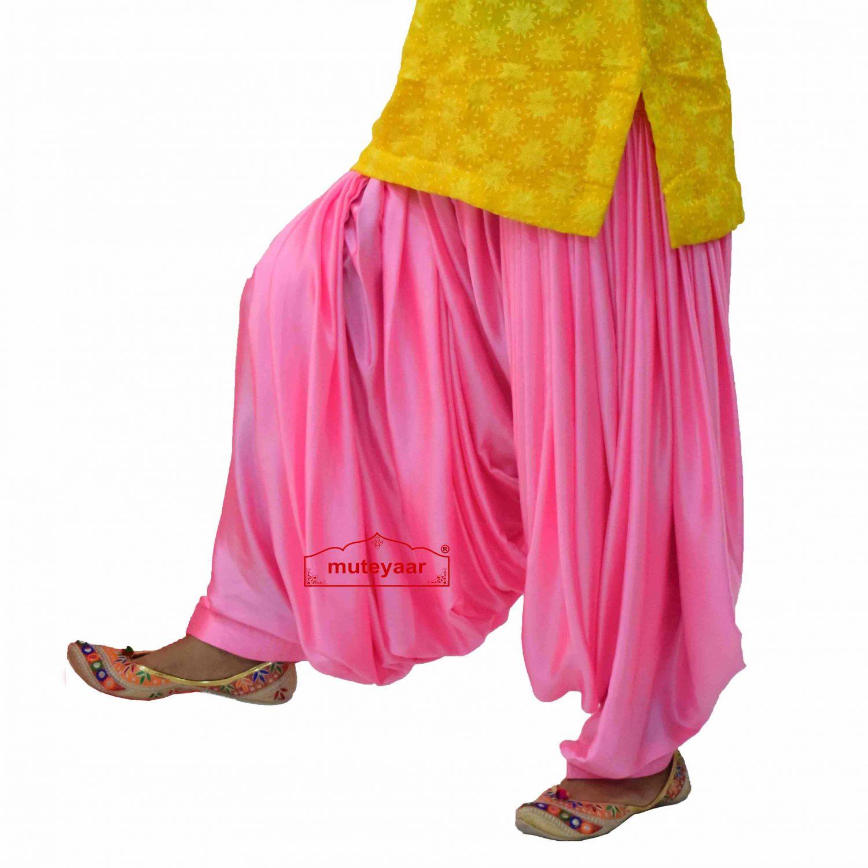 Pink Satin Maharani Patiala Salwar - Custom Stitched 4