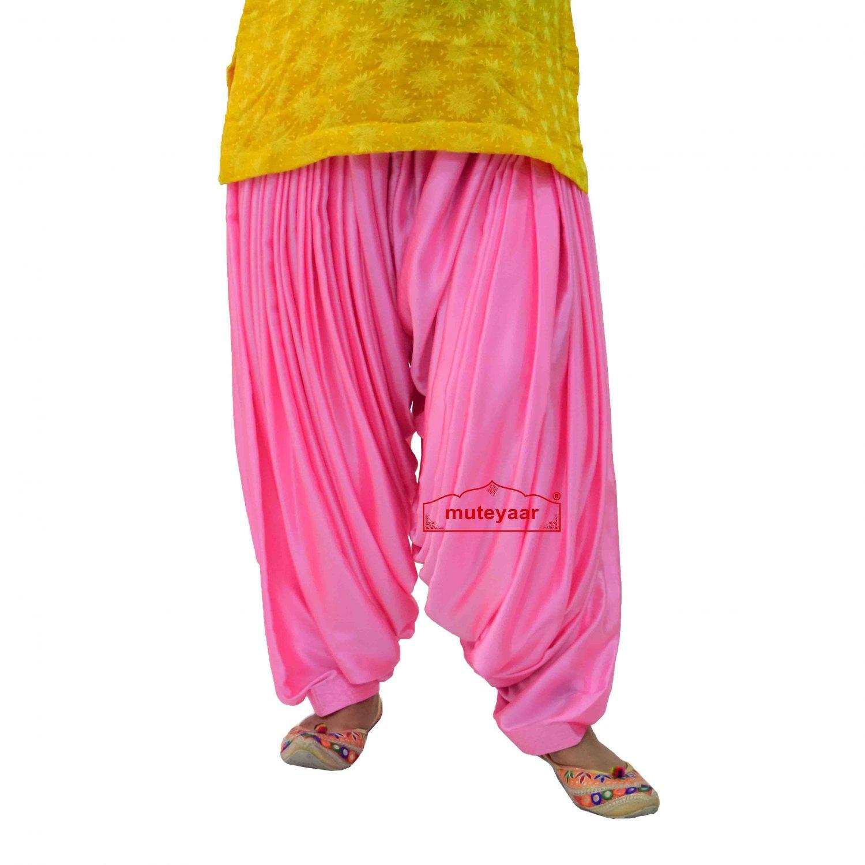 Pink Satin Maharani Patiala Salwar - Custom Stitched 5