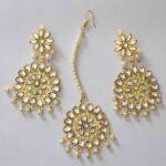 Kundan Work Punjabi Traditional Jewellery Earrings Tikka set J0467