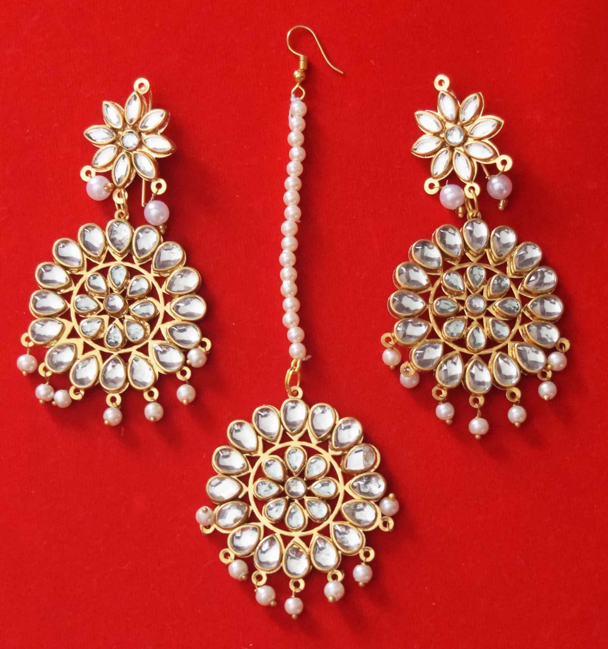 Kundan Work Punjabi Traditional Jewellery Earrings Tikka set J0467 2