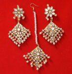 Kundan Work Punjabi Traditional Jewellery Earrings Tikka set J0468
