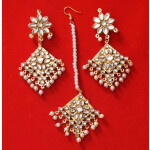 Kundan Work Punjabi Traditional Jewellery Earrings Tikka set J0468