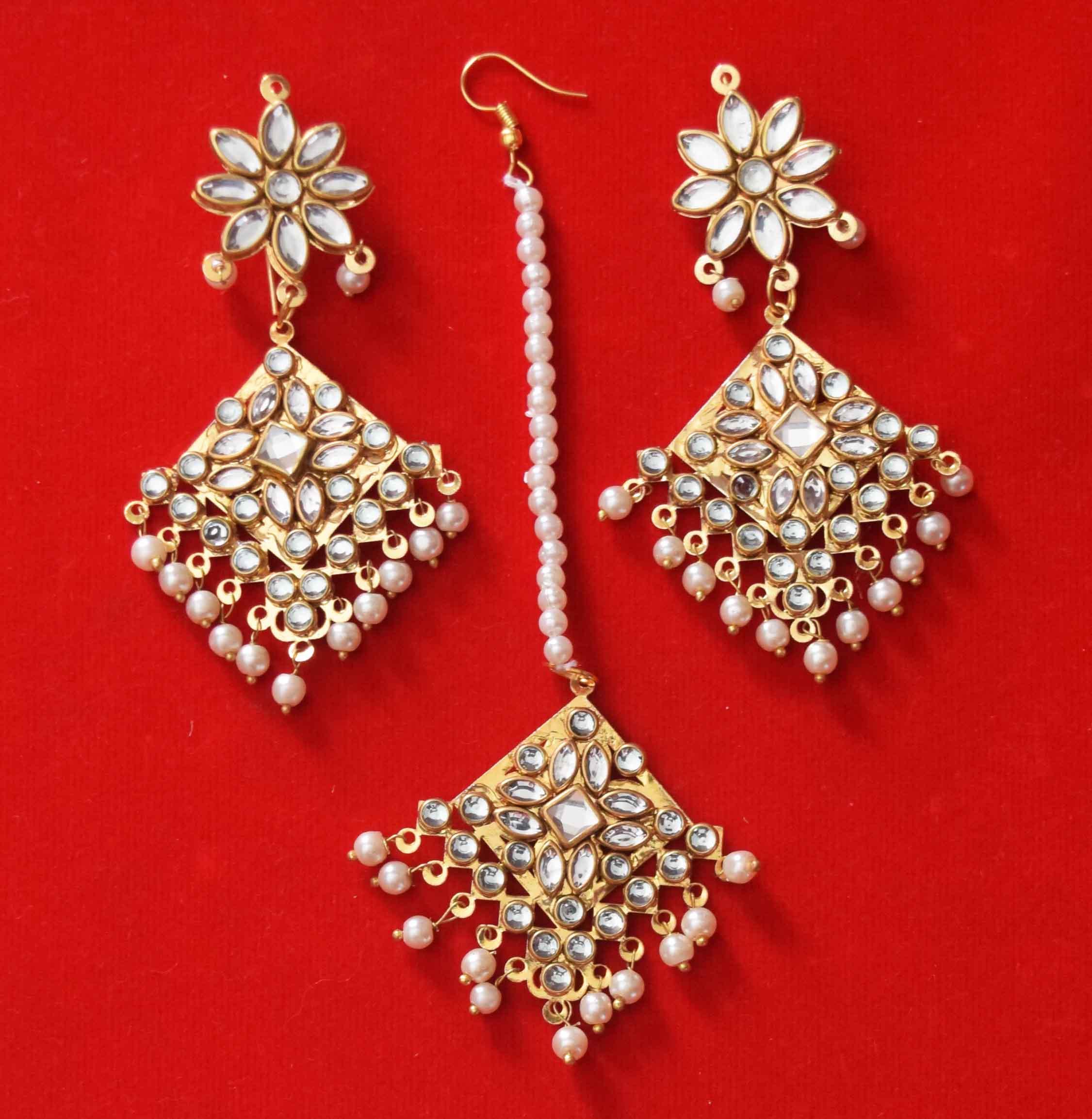 Kundan Work Punjabi Traditional Jewellery Earrings Tikka set J0468 1
