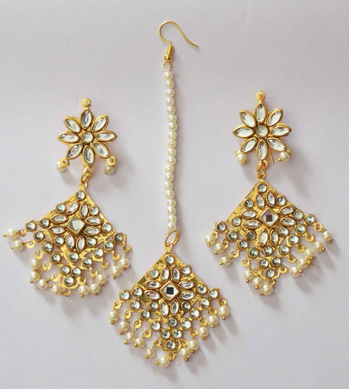 Kundan Work Punjabi Traditional Jewellery Earrings Tikka set J0468 2