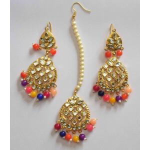 Kundan Work Punjabi Traditional Jewellery Earrings Tikka set J0469