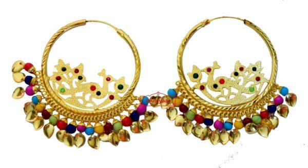 Golden Polish Jadau Traditional Punjabi Jewellery Morni Bali Earrings J0471