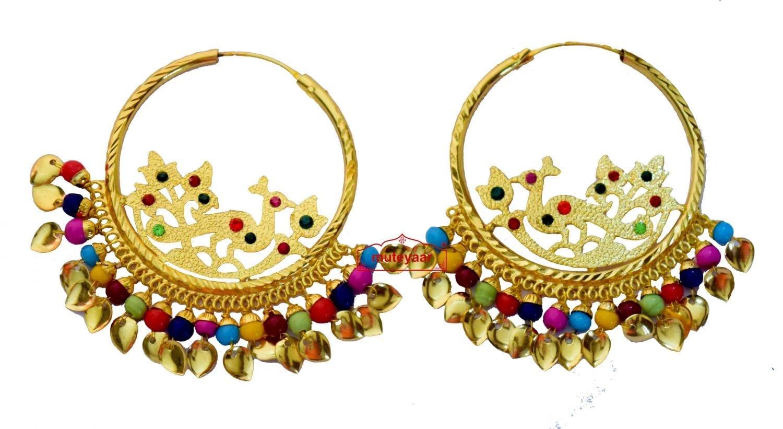 Golden Polish Jadau Traditional Punjabi Jewellery Morni Bali Earrings J0471 1