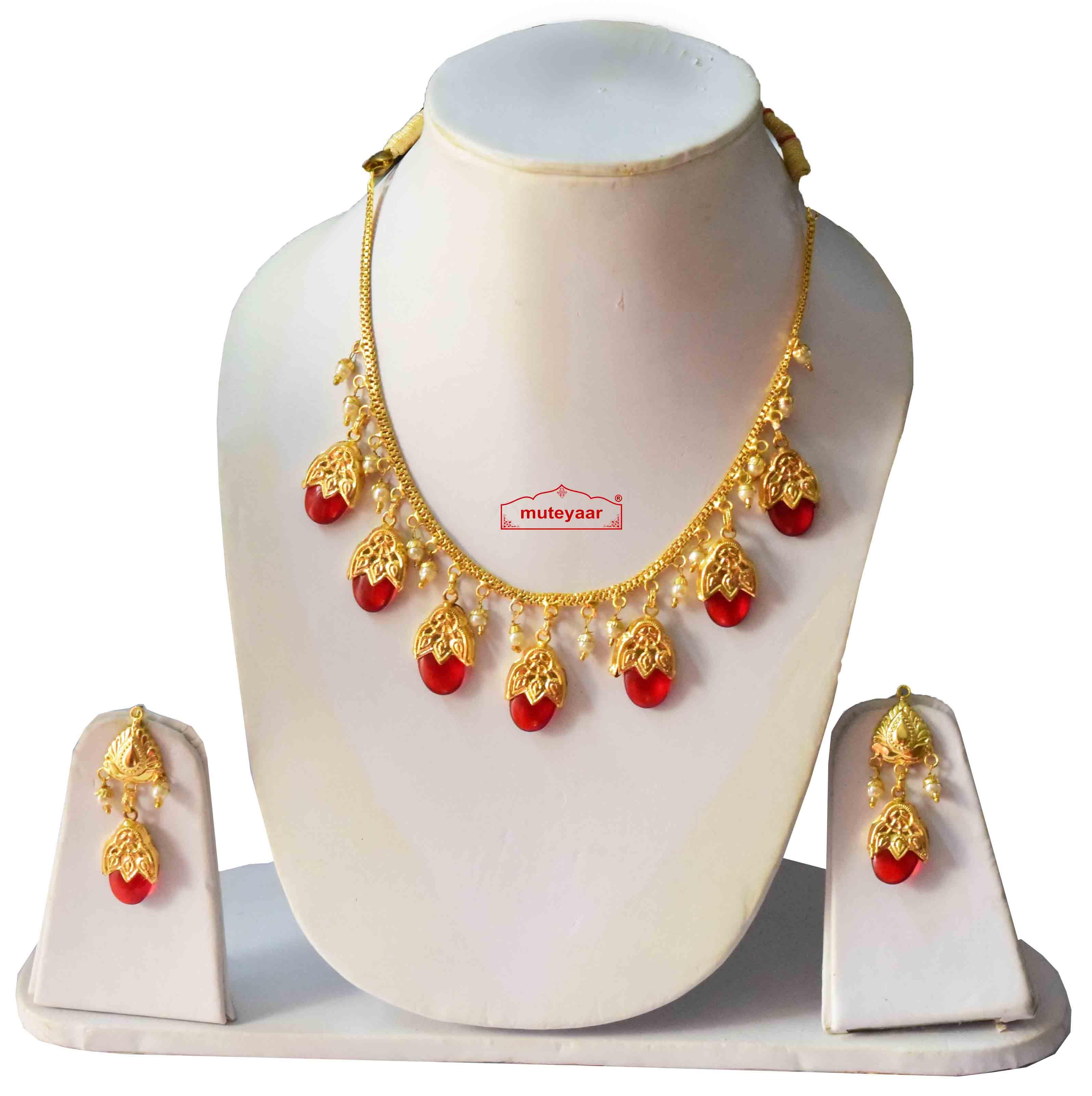 Punjabi Traditional Dakh Set with Red Stones 1