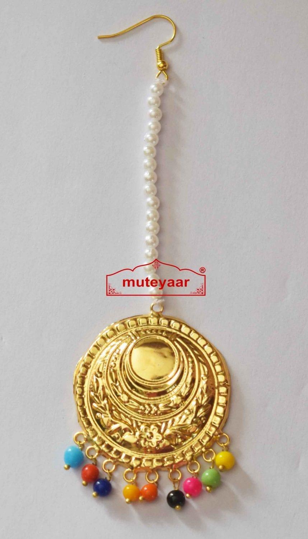 Golden Tikka Maang Teeka jewellery for giddha and bhangra J0473 1
