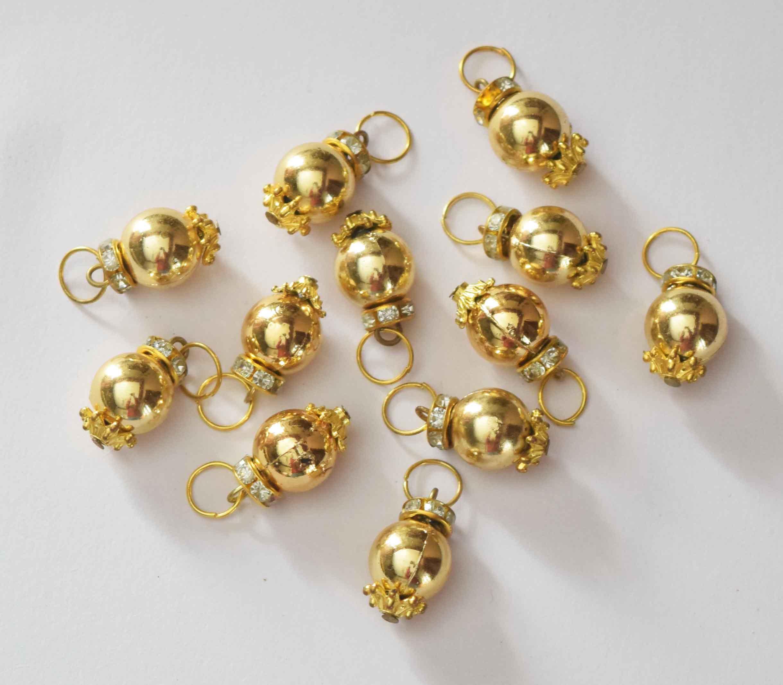 12 Pieces Lot of 2cm size Golden Ball Latkan Dangles LK083 1