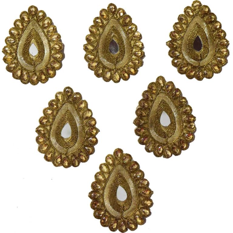 Antique Golden Zircon Stones Embroidered Motif for use on Lehenga, kurti etc. MT0036