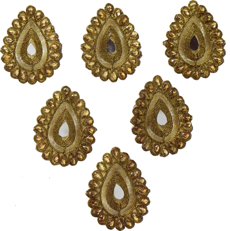 Antique Golden Zircon Stones Embroidered Motif for use on Lehenga, kurti etc. MT0036 1